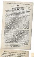 DI/M/ °  WIEZE 1900 + 1916  IRENA DE VOS     Met Foto - Religion & Esotérisme