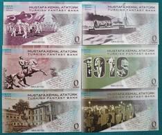 AC - TURKEY MUSTAFA KEMAL ATATURK 19 MAY 1919 ZERO EURO SOUVENIR BANKNOTE SAME SERIAL NUMBERED 6 PIECES FULL SETSET - Sonstige
