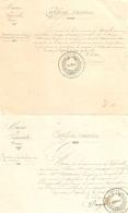 Lot De 2 Certificats D'exercice Du Secrétaire De Mairie Brunet, Creuse, 1887, Vigeville, Signature Du Maire Périgaud - Documents Historiques