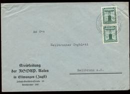 P0946 - DR NSDAP Dienstpost Briefumschlag: Gebraucht Mit Sonderstempel Ellwangen - Heilbronn 1943, Bedarfserhaltung. - Allemagne
