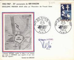 FRANCE - 1967 - FDC - Bir-Hakeim - Autographe Du Gal Koenig - 1960-1969