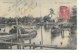 VIETNAM   Village Annamite ( Carte Partie De Saigon Arrivée à Nogent-sur Marne France) - Viêt-Nam
