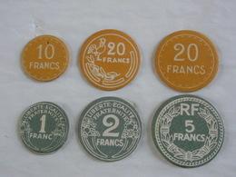 Éducatif Scolaire 6 Pièces Monnaie Carton Uniface Anciens & Nouveaux Francs. - France