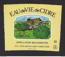 Etiquette D'Eau De Vie De Cidre -  50 Cl  -  Ets Anée  à  Vimoutiers  (61) - Etiquettes