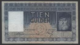 Netherlands  10 Gulden 1-6-1933 - 11-10-1939 , NO: 6 QZ 060691 - See The 2 Scans For Condition.(Originalscan ) - [2] 1815-… : Koninkrijk Der Verenigde Nederlanden