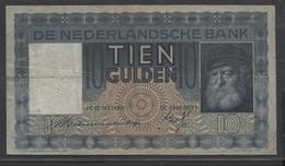 Netherlands  10 Gulden 1-6-1933 - 11-10-1939 , NO: HG 026841 - See The 2 Scans For Condition.(Originalscan ) - [2] 1815-… : Koninkrijk Der Verenigde Nederlanden