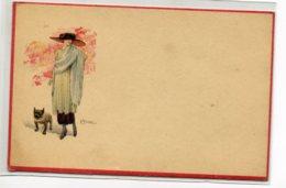 ILLUSTRATEUR TERZI Elégante Femme Chapeau Et Son Chien Bouledogue Carte Italienen   D08 2019 - Illustrateurs & Photographes