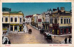 PLOIESTI : STRADA MIHAIL KOGALNICEANU - MAGAZINE : FARMACIA TRAIAN / BIJURERIE & OPTICIAN : SAMUEL IANCU ~ 1920 (ac246) - Roumanie