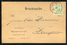 Wuerttemberg / 1887 / Mi. 44a EF A. Drucksachenkarte K1-Stempel ULM (13174) - Wurttemberg