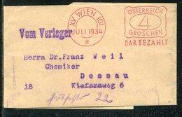 "Oesterreich / 1934 / Streifband Roter Stempel Wien ""BAR BEZAHLT"" (Bar-Stempelung) (13177) - 1918-1945 1st Republic"