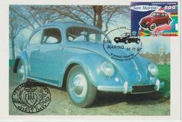 Saint Marin Carte Maximum 1997 Automobile Volkswagen 1544 - Lettres & Documents