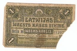 Latvia 1919 1 Ruble Rublis - Ser. H 11207? Latvian Banknote - Latvia