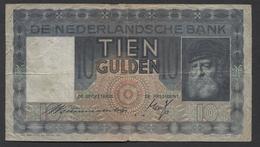 Netherlands  10 Gulden 1-6-1933 - 11-10-1939 , NO: Ao 012072 - See The 2 Scans For Condition.(Originalscan ) - [2] 1815-… : Kingdom Of The Netherlands