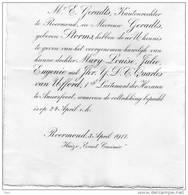 Quarles Van Ufford Maartensdijk E.Geradts Kantonrechter Te Roermond Storms Eerste Luitenant Der Huzaren Amersfoort 1917 - Wedding