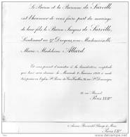 Baron De Surville Lieutenant Au 27 Dragons Marie Madeleine Allard Paris XVII 8 Jan. 1919 église St Pierre Gros-caillou - Wedding