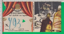 Biglietto TEATRO. Teatro Manzoni. Milano. Illva. Saronno. Amaretto Di Saronno. 1954. - Biglietti D'ingresso