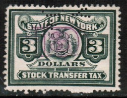 U.S.A.  Scott # UNLISTED USED $3.00 New York STOCK TRANSFER (Stamp Scan # 500) - Revenues