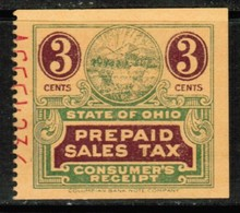 U.S.A.  Scott # UNLISTED Ohio 3 Cents CONSUMER SALES TAX (Stamp Scan # 500) - Revenues