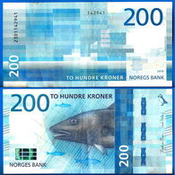 Norvege 200 Couronnes 2016 Norway Que Prix + Port Saumon Poisson Salmon Fish Banknote Paypal Skrill Bitcoin OK - Norvegia