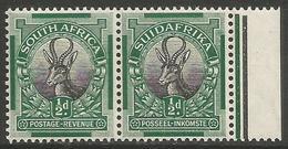 South Africa - 1926 Springbok 1/2d Bilingual Margin Pair MNH **    SG 30   Sc 23 - South Africa (...-1961)