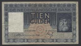 Netherlands  10 Gulden 1-6-1933 - 11-10-1939 , NO: KA 098292 - See The 2 Scans For Condition.(Originalscan ) - [2] 1815-… : Koninkrijk Der Verenigde Nederlanden