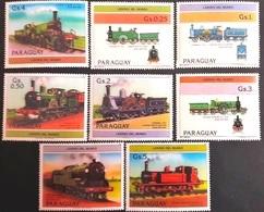 # Paraguay 1984** Mi.3779-85. Trains, MNH [17] - Eisenbahnen