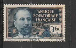 """A.E.F  Oblitéré  1940  N° 124  Timbre De 1936-39  Surchargé """" LIBRE"""" En Noir - A.E.F. (1936-1958)"""