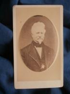Photo CDV F. Marie à Tarbes - Portrait Embossé Homme Agé Circa 1870-75 L442 - Photographs