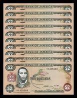 Jamaica Lot Bundle 10 Banknotes 2 Dollars 1993 Pick 69e SC UNC - Jamaica