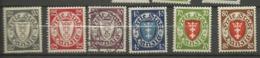 Danzig 1935  Mi.Nr.:  245-50  Coat Of Arms 20-80 Pfg Mint Hinged X, 30 Pfg Cancelled O - Danzig