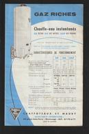 Dépliant De Fonctionnement Du CHAUFFE-EAU - Année 1958 - Chaffoteaux Et Maury à MONTROUGE - Double Page - 3 Scannes - Machines