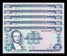 Jamaica Lot Bundle 5 Banknotes 10 Dollars 1994 Pick 71e SC UNC - Jamaica