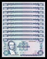 Jamaica Lot Bundle 10 Banknotes 10 Dollars 1994 Pick 71e SC UNC - Jamaica