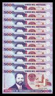 Mozambique Lot Bundle 10 Banknotes 5000 Meticais 1991 Pick 136 SC UNC - Mozambique