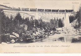 Eisenbahnbrücke Mit Dampfzug Auf Der Strecke Grünthal-Petersdorf       (190507) - Eisenbahnen