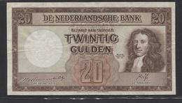 Netherlands  20 Gulden 7-5-1945 - 4-3-1946 , NO: 1 AC 308615  - See The 2 Scans For Condition.(Originalscan ) - 20 Gulden