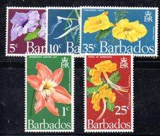 CI838 - BARBADOS 1970, Serie Yvert N. 325/329 ***  MNH   (2380A) .  Fiori - Barbados (1966-...)