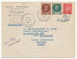 Enveloppe Recommandée Provisoire Depuis PORNICHET (Loire Inf) Du 9/4/1944 - Ilot De St Nazaire - 1941-42 Pétain