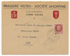 Enveloppe En-Tête Brasserie Velten - Société Anonyme - Affr 1,20F Bersier, Obl St Rambert L'Ile Barbe (faible) - 1944 - France