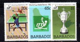 CI895a - BARBADOS 1983, Serie Yvert N. 584/586 ***  MNH   (2380A) . Ping Pong - Barbados (1966-...)