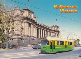 Postcard Tram Passing Victorian State Parliament Hose Melbourne Australia PU 1985  My Ref  B23594 - Tramways
