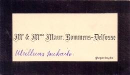 Visitekaartje - Carte Visite - Mr & Mme Maur. Rommens - Delfosse - Poperinge - Cartes De Visite