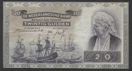 Netherlands  20 Gulden 9-7-1939 - 26-9-1945  NO: FV 020483  - See The 2 Scans For Condition.(Originalscan ) - 20 Gulden