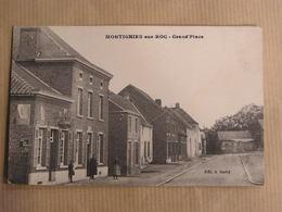 MONTIGNIES SUR ROC Grand Place Animée Rare Commune Honnelles Province Du Hainaut Belgique Carte Postale - Honnelles