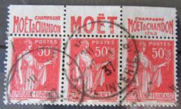 France - Bande De 3 Timbres Oblitérés Type Paix 50c YT N°283 (type IV) Avec Bandes Pub. Moët & Chandon - France