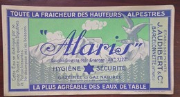 """Hautes-Alpes : étiquette Pour L'EAU De TABLE """" ALARIS """" , V. 1950 - Publicité"""