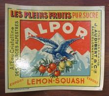 """étiquette Pour Le JUS De FRUIT """" ALPOR / Lemon Squash """", V. 1950 - Publicité"""