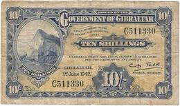 Gibraltar 10 Shillings 1-6-1942 Pk 14 B.1 Ref 3337-1 - Gibraltar