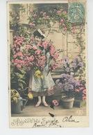 """PRENOMS - FEMMES - FRAU - LADY - Jolie Carte Fantaisie Portrait Femme Et Fleurs """"Aujourd'hui Sainte ALICE """" - Firstnames"""
