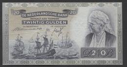 Netherlands  20 Gulden 09-07-1939 - 26-9-1945  NO: JJ 075539  - See The 2 Scans For Condition.(Originalscan ) - 20 Gulden
